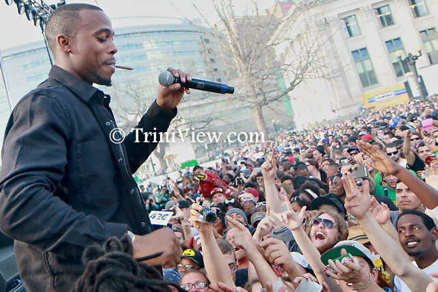 Rapper B.O.B performs in front of the 4/20 crowd