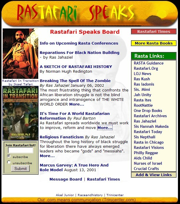 A snapshot of Rastafari Speaks on Trinicenter.com in the year 2001