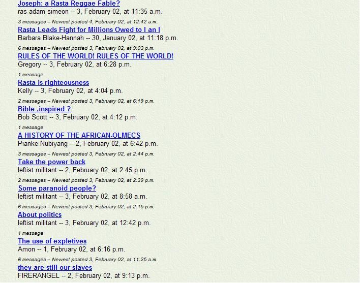 A snapshot of Rastafari Speaks Message Board in 2002 - Pt 4