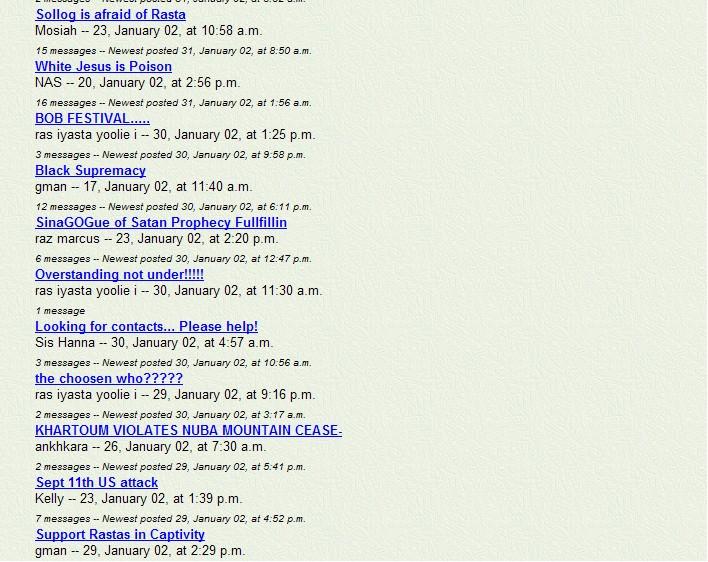 A snapshot of Rastafari Speaks Message Board in 2002 - Pt 9