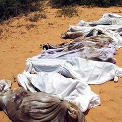 Corpses of Somalis killed by the occupying Ethiopian forces in Mogadishu, the capital city of Somalia