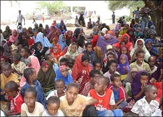 Thousands, including these orphans, have descended on towns outside the capital
